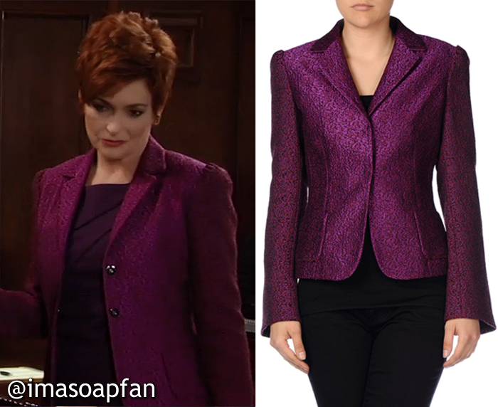 Diane Miller, Carolyn Hennesy, Purple Boucle Tweed Blazer, Elie Tahari, Roni Boucle Tweed Jacket, General Hospital