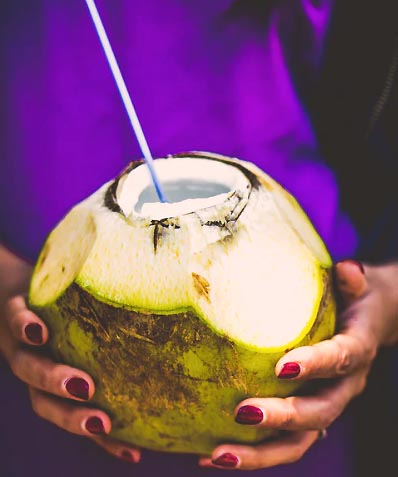 Coconut herb-infused water
