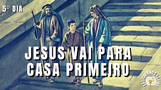Jesus criança saindo do templo