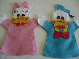 DSC06202 - Fantoche em feltro  do Pato Donald e da Margarida