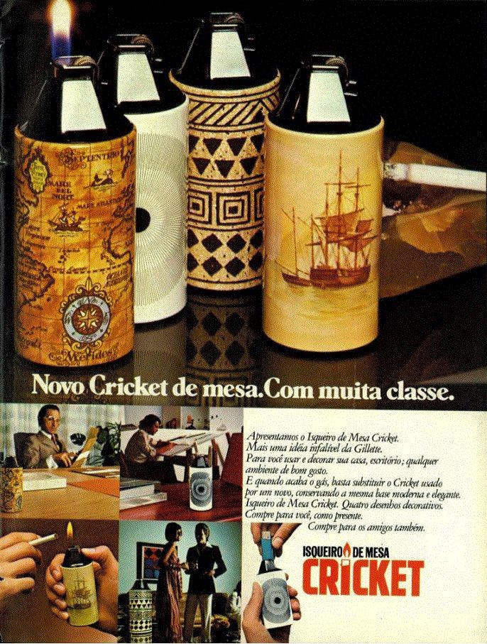 Propaganda antiga do modelo de isqueiro de mesa da Cricket em 1976