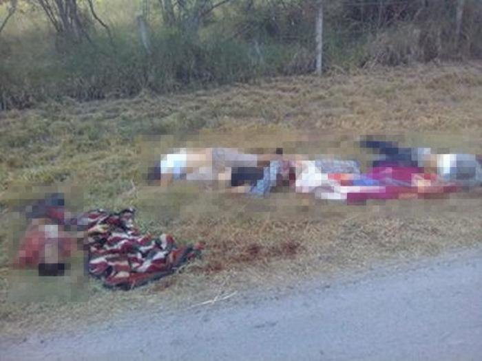 FOTOS, Cuatro cuerpos maniatados y ejecutados son hallados a 200 metros de la Universidad de Cadereyta, NL