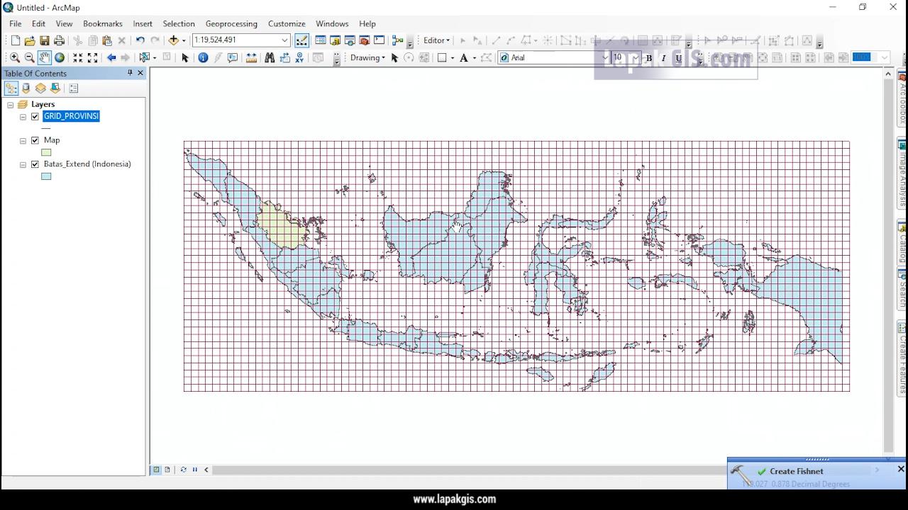 Cara Membuat Grid LU LS atau BT pada ArcGIS