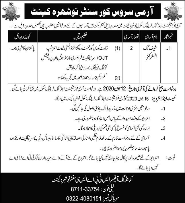 Army Service Corps Centre Nowshera Cantt Jobs