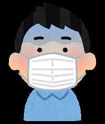 マスクを付けた人の表情のイラスト(男性・ショックを受けた顔)