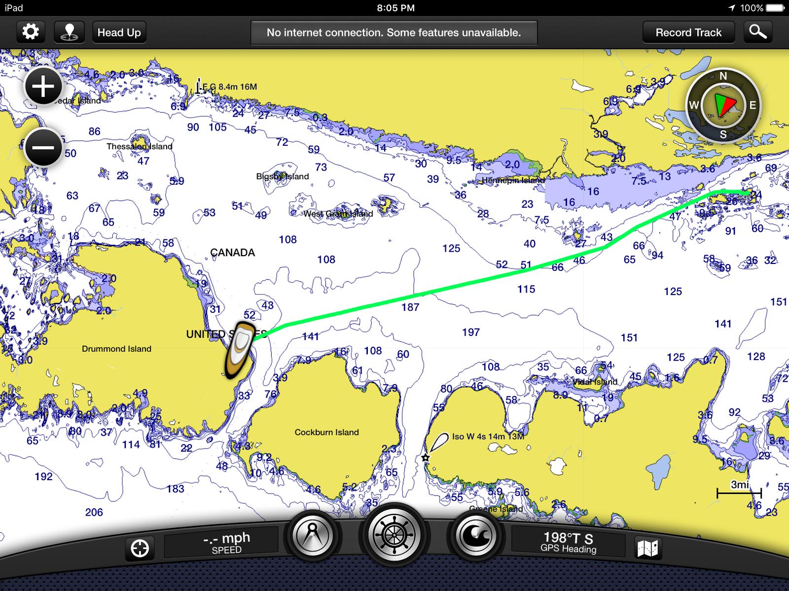 screenshot of turnbull island to pilot cove drummond island track