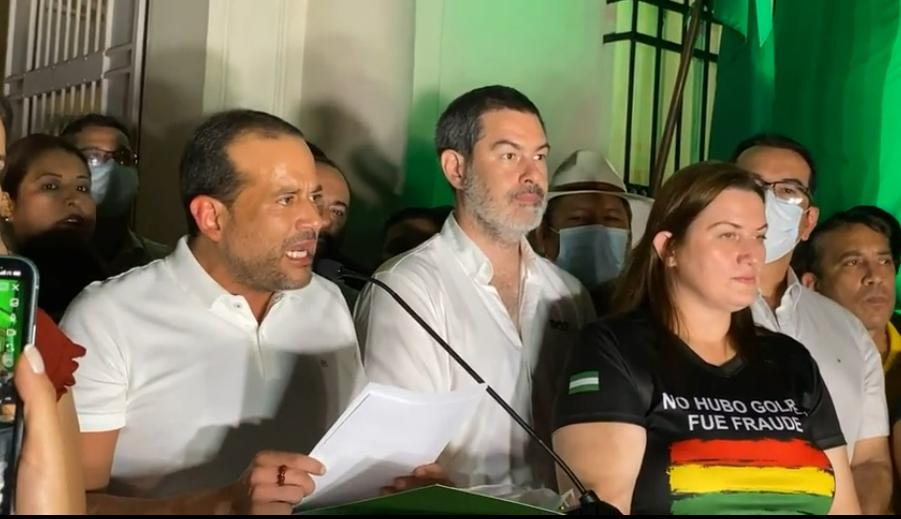 Camacho y sus asambleístas en mensaje a la población de Santa Cruz / FACEBOOK