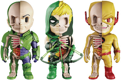 DC Comics XXRAY Dissection Series 6 Vinyl Figures by Jason Freeny & Mighty Jaxx - Green Arrow, Lex Luthor & Reverse Flash