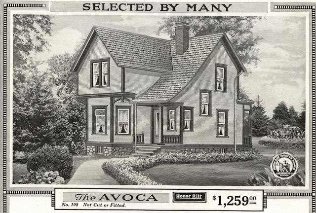black and white rendering in 1918 Sears Modern Homes catalog, Sears Avoca model
