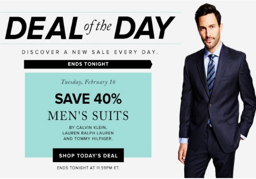 Hudson's Bay Deal of the Day 40% Off Men's Suits