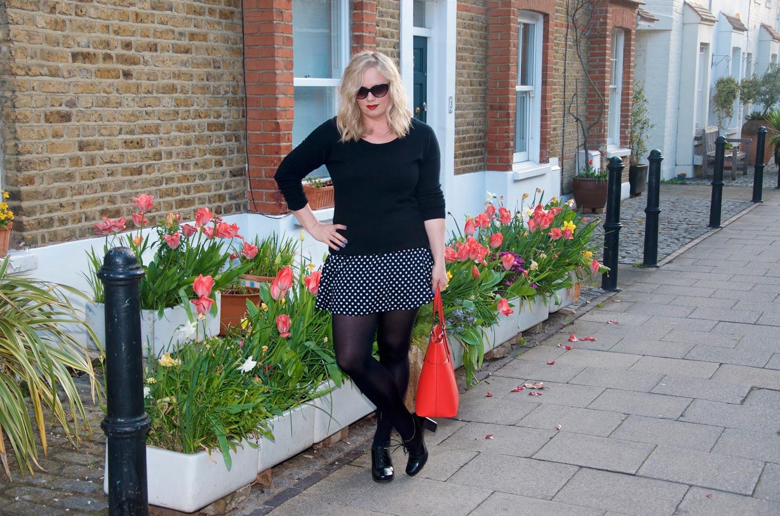 polka dot skirt and tulips