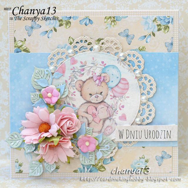 154. Kartka dla dziecka z misiem