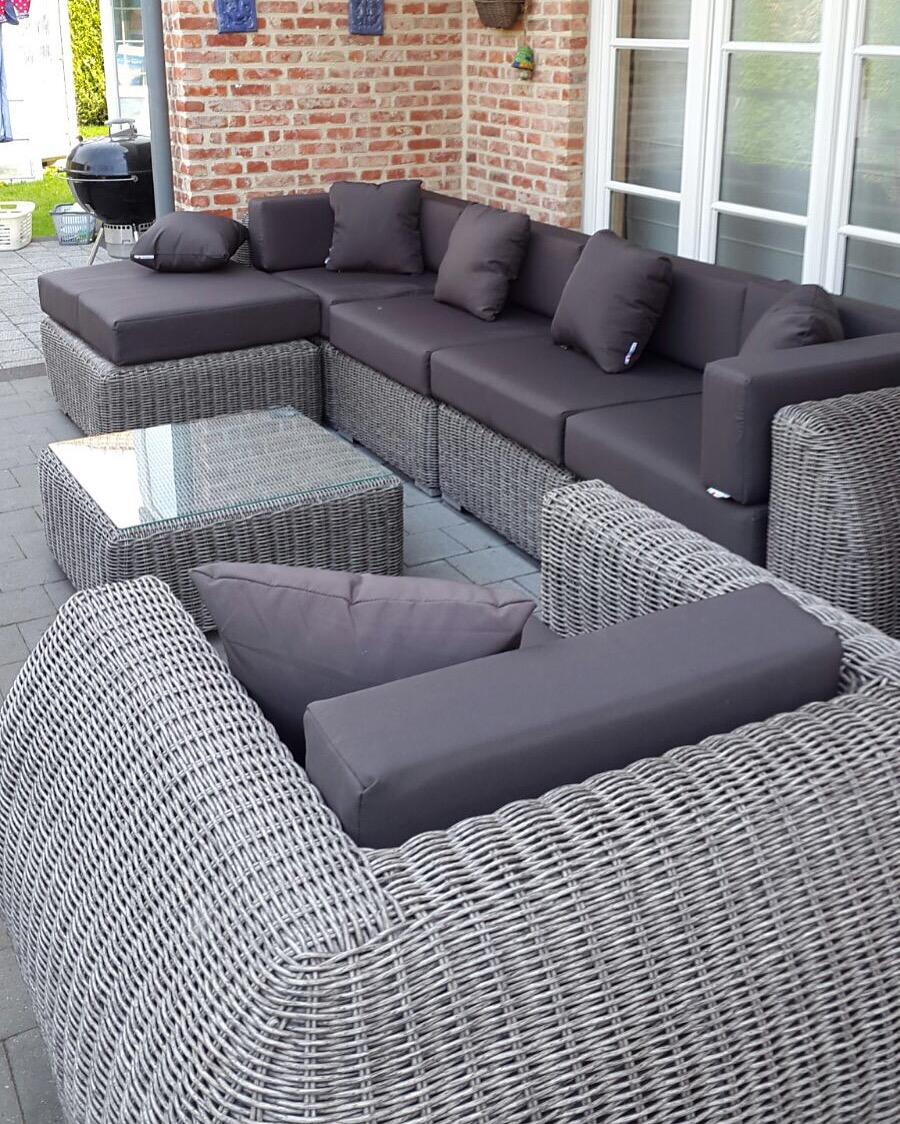 Arbrini design tuinmeubelen - Lounge grijs en paars ...