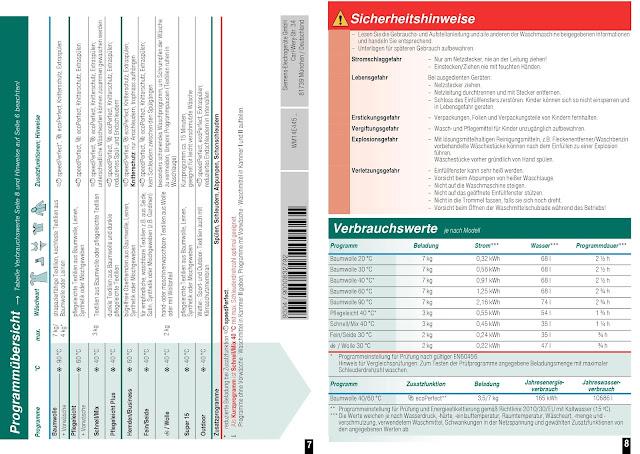 Bedienungsanleitung Siemens iQ300 WM14E425 iSensoric Waschmaschine