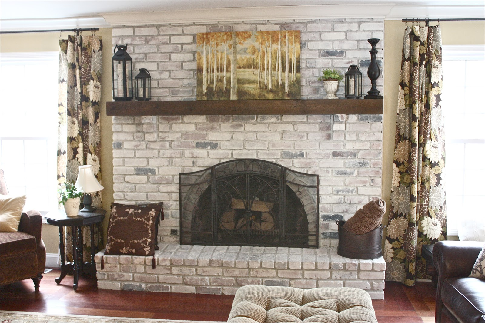 How To Decorate A Brick Fireplace The Yellow Cape Cod White Washed Brick Fireplace Tutorial