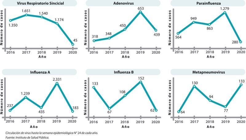 Gráficos muestran marcada baja  de casi todos los virus invernales