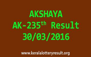 AKSHAYA AK 235 Lottery Result 30-3-2016