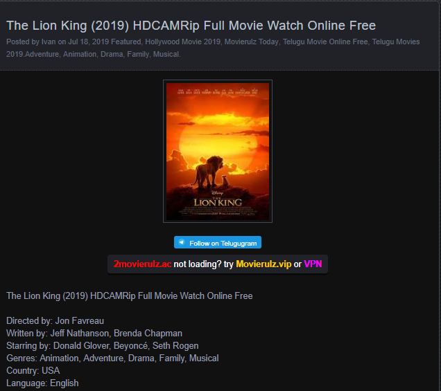 Movierulz Leaks The Lion King 2019 Online