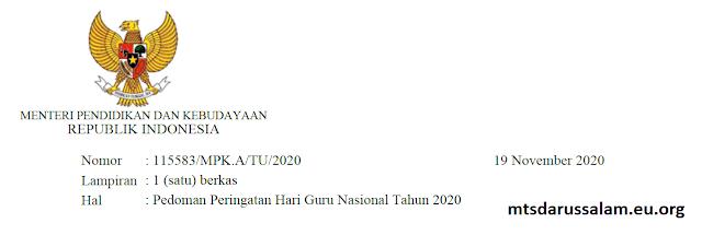 Surat Mendikbud Tentang Hari Guru Nasional Tahun 2020