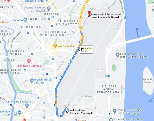 ruta desde el hotel al aeropuerto de guayaquil