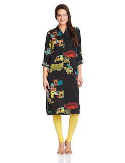 Rs. 779 Black W Woman Kurta by FashionDiya