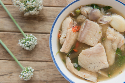 Thai traditional fish soup with pangasius