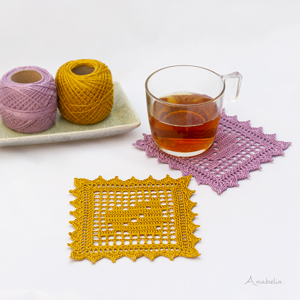 Fall Leaf coasters, free crochet filet pattern by Anabelia Craft Design
