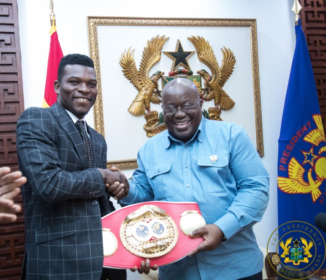 Richard Commey Presents IBF Lightweight Title To President Akufo-Addo