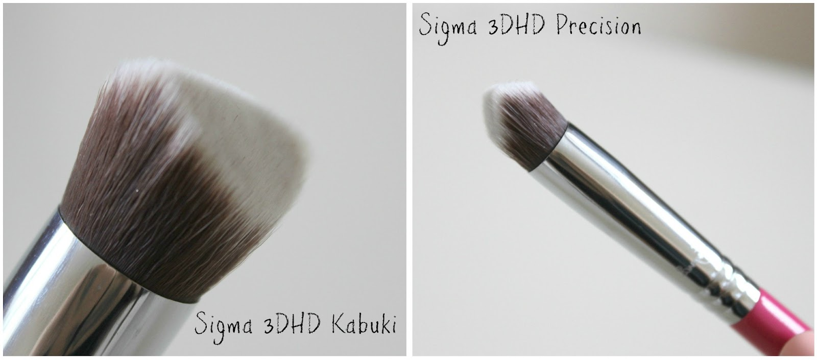A picture of the Sigma 3DHD Kabuki brush and the 3DHD Precision brush