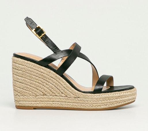 Sandale de piele cu platforma negre