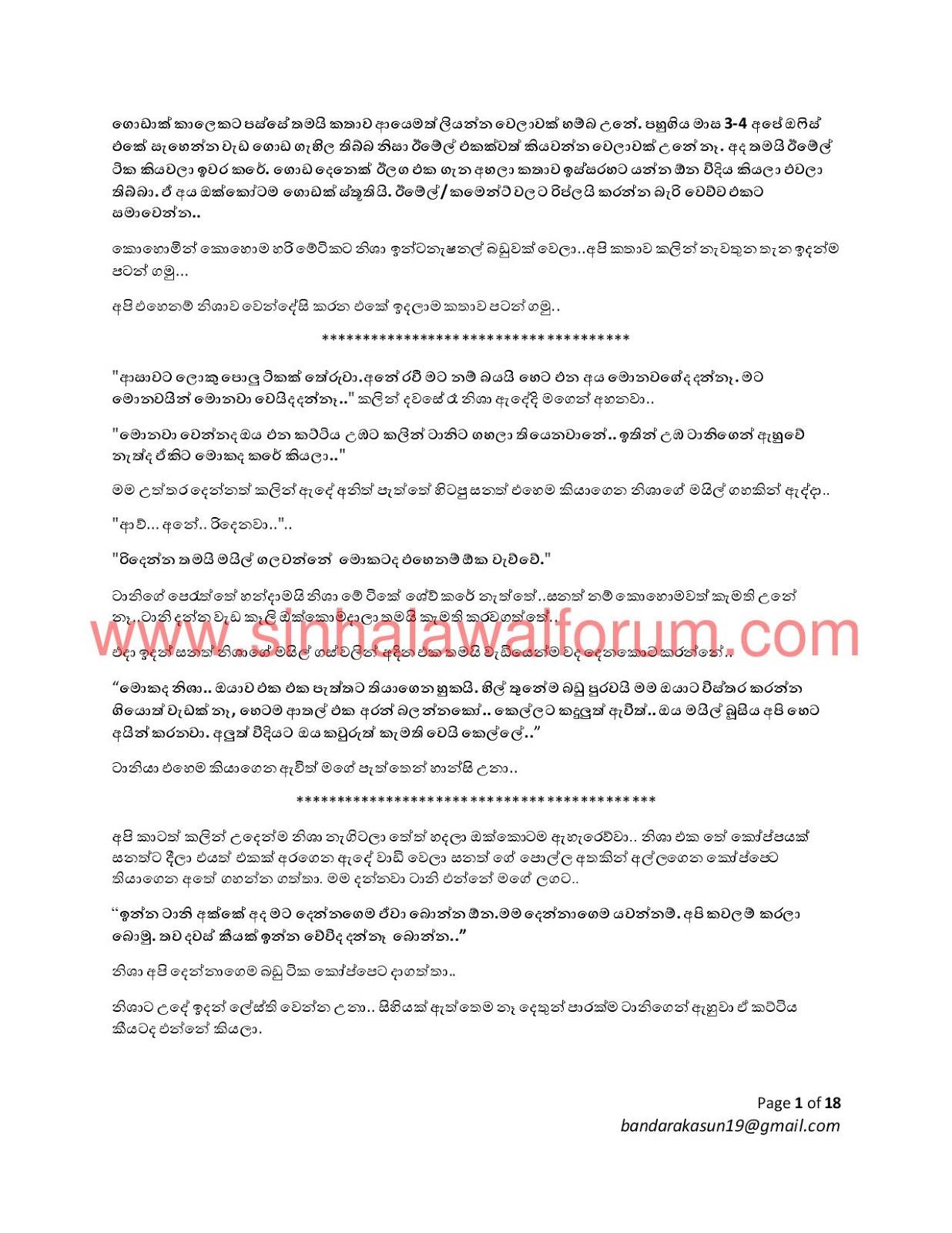 Mage Wife Nisha 14 - Sinhala Wal Katha