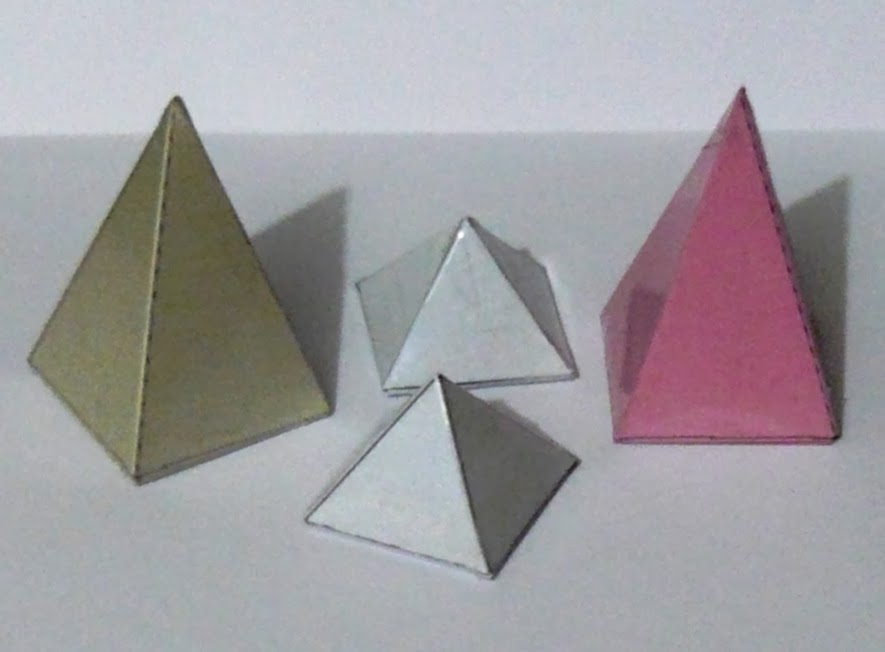 Square based pyramids made from nets