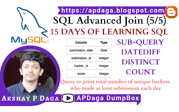 HackerRank: [SQL Advanced Join] (5/5) 15 DAYS OF LEARNING SQL | Sub-Query, datediff, distinct, count in SQL
