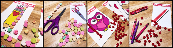 integrate measurement with valentine's day with these non-standard measurement centers