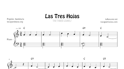 Las tres hojas Partitura de Piano Fácil Popular Infantil Andalucía