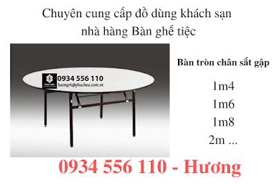 Các loại hình tiệc banquet - bàn tròn, bàn chữ nhật chân sắt gập được sử dụng