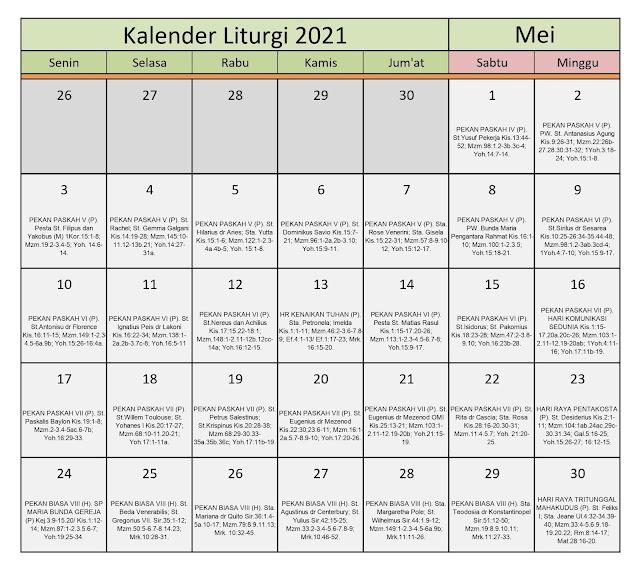 Download Kalender Liturgi Mei 2021 Tahun B/1 PDF Excel dan ...
