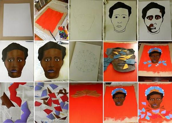 Les différentes étapes pour la réalisation du portrait pour le cours de mixed media avec Tessa Mars