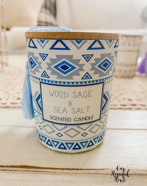 wood sage sea salt scented candle jar
