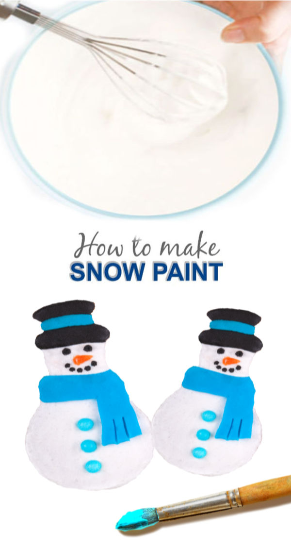 Make snow paint that is icy-cold using just two ingredients!  Kids of all ages are sure to love this winter recipe for play snow. #snowmancrafts #snow #snowmanpainting #snowpaint #snowpaintingforkids #snowpainteasy #snowrecipe #snowrecipesforkids #puffysnowpaint #puffysnowmanpaint #puffysnowmancraft #shiverysnowpaint #growingajeweledrose #activitiesforkids