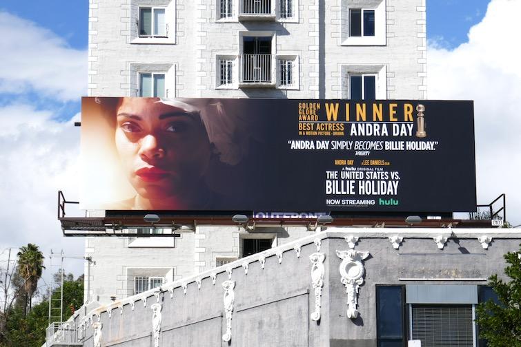 Andra Day US vs Billie Holiday Golden Globe billboard