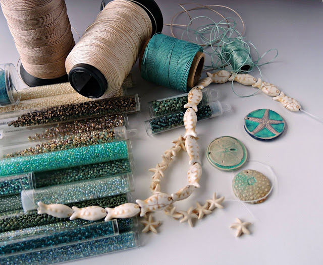 Beach color palette in cord and beads.