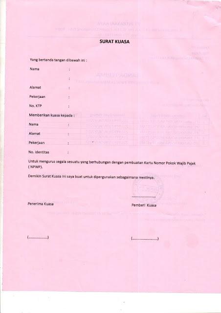 surat kuasa untuk mengurus npwp