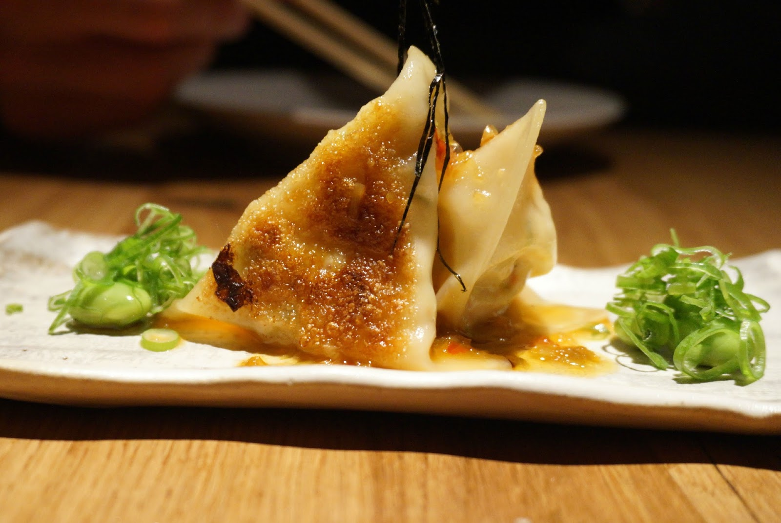 crab and crayfish gyoza dumplings and edamame