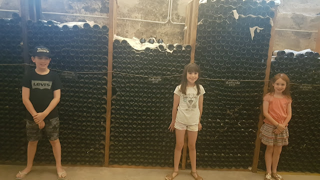 Three children stand in front of wine bottles in a cellar