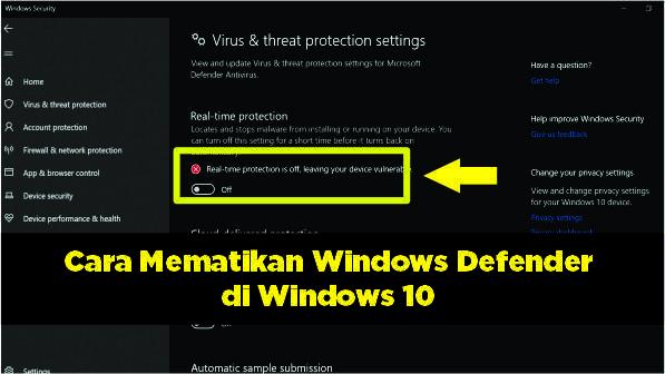 Cara Disable Real Time Protection Di Windows 10