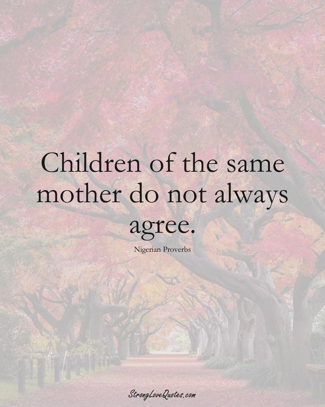 Children of the same mother do not always agree. (Nigerian Sayings);  #AfricanSayings
