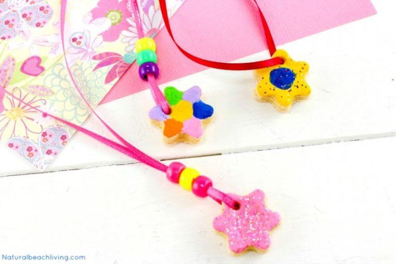 Salt dough ideas - flower necklace craft
