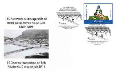 Boceto del sobre con el matasellos del 83 Descenso Internacional del Sella, Piraguas 2019