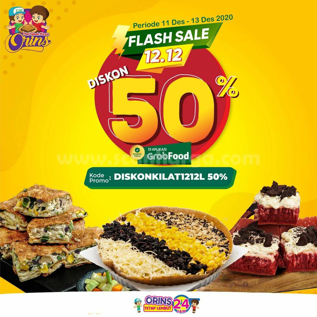 Martabak Orins Promo Flash Sale 12.12 - Diskon 50% khusus pesan via Grabfood